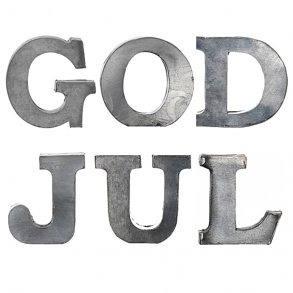 Zinkbokstäver GOD JUL