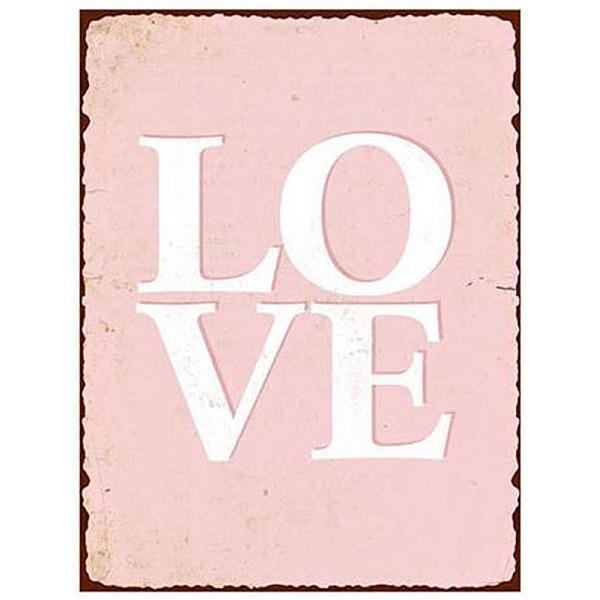 Plåtskylt Love - Rosa