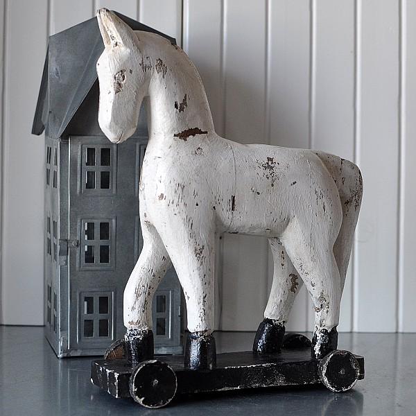 Häst på hjul TROJA - Vit