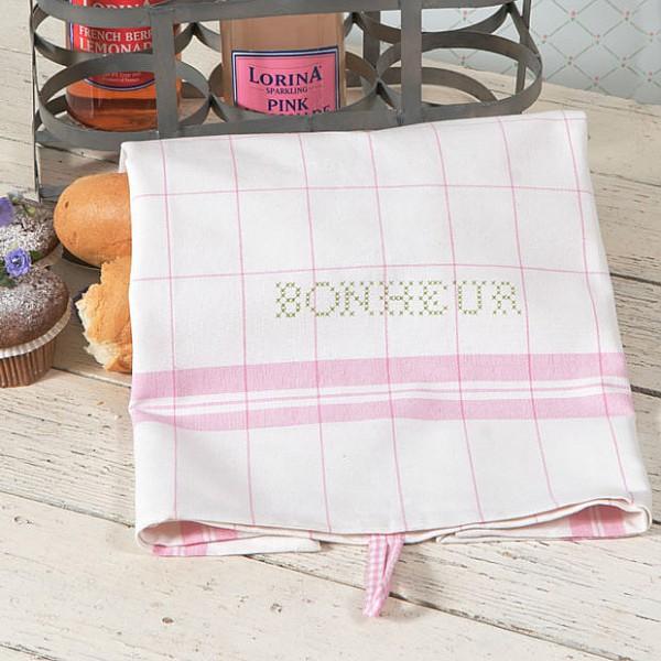 Kökshandduk Bonheur Vit/Rosa