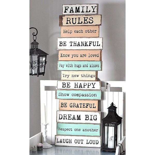 Träskylt FAMILY RULES
