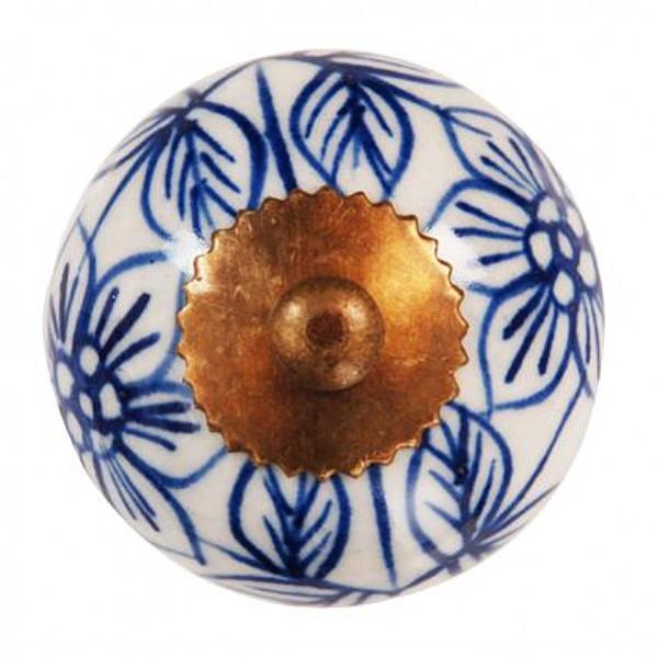 Porslinsknopp Blommönster - Blå