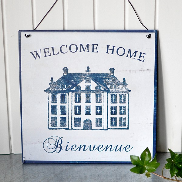 Plåtskylt Welcome Home - Bienvenue