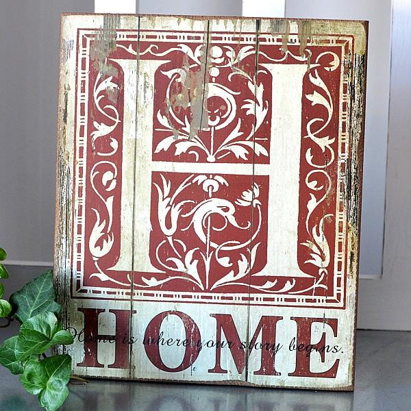 Träskylt - Home is where our story begins