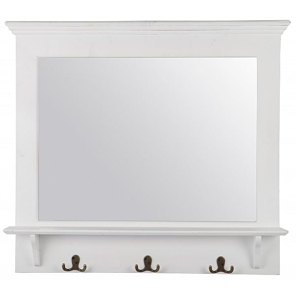 Spegel med krokar - Shabby Chic - Vit