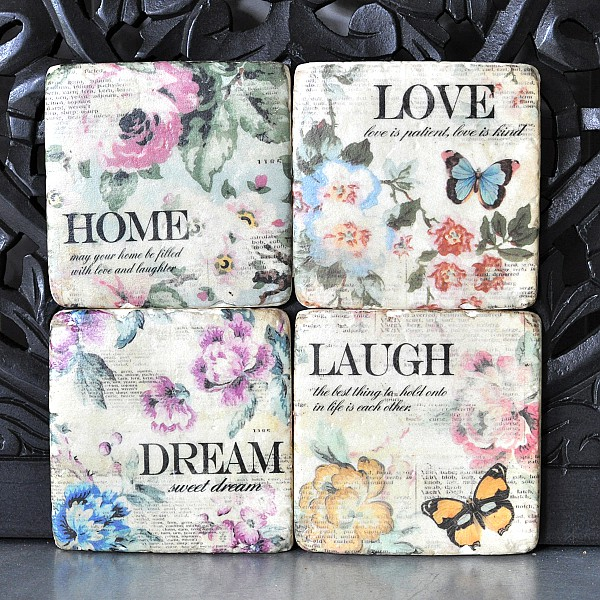 Glasunderlägg 4 st - Laugh Dream Home Love