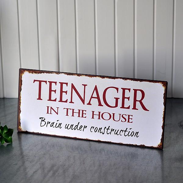 Plåtskylt Teenager in the house
