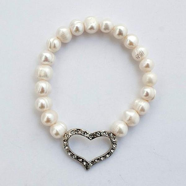 Armband Pärlor och hjärta med strass - Vit
