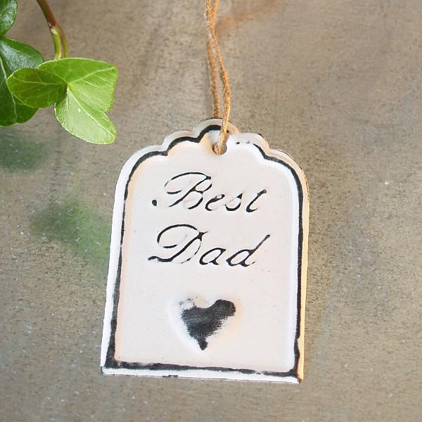 Tag Best Dad med hjärta 6 x 4 cm - Vit