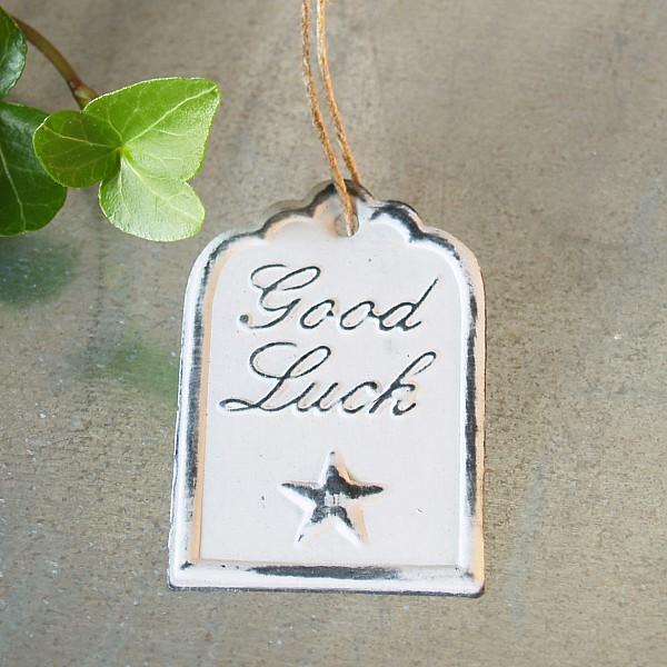 Tag Good Luck med stjärna 6 x 4 cm - Vit