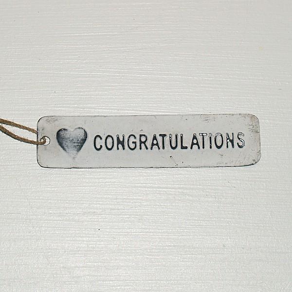 Tag Congratulations med hjärta - Vit