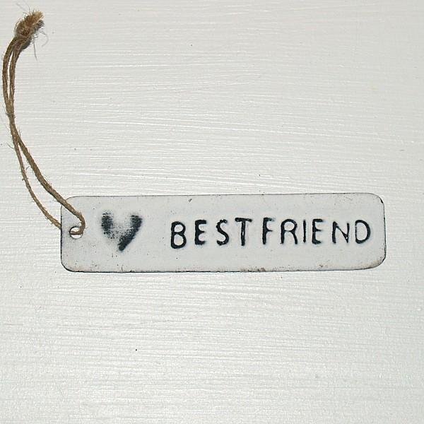 Tag Best friend med hjärta - Vit