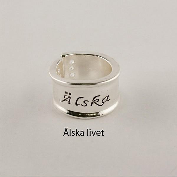 Ring Silver Älska livet