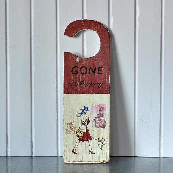 Door sign gone shopping la finesse webshop mixin home - Wooden door signs for home ...