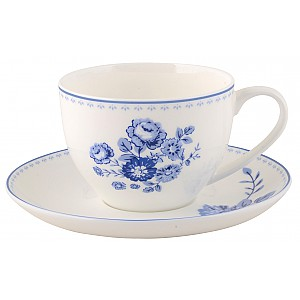Coffee Cup / Saucer Blue Rose