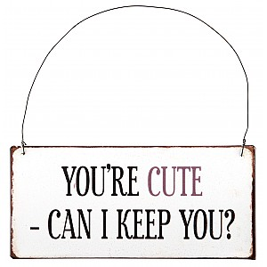Metal Sign You're cute - Can I keep you?
