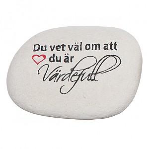 Sten med text Värdefull