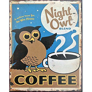 Tin Sign Coffee Owl