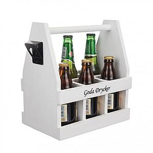 Wooden Box Goda Drycker with bottle opener - White