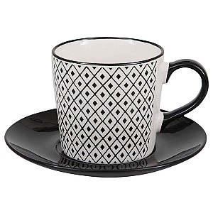 Coffee Cup / Saucer Black & White