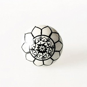 Porcelain Knob White with black flower pattern