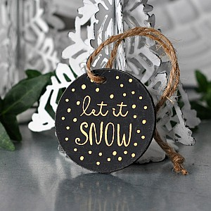 Gift Tag Round Let it snow