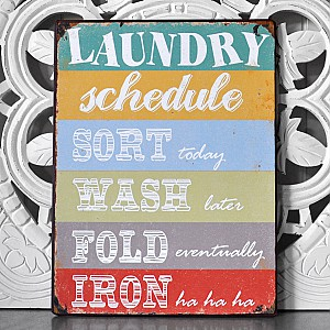 Tin Sign Laundry Schedule