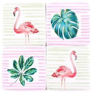 Glasunderlägg Flamingo