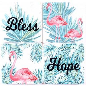 Glasunderlägg Flamingos Bless Hope