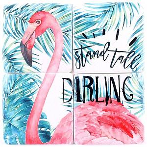 Glasunderlägg Flamingo Stand Tall Darling