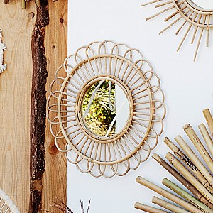 Round Mirror with bamboo cane