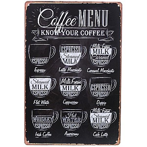 Tin Sign Coffee Menu