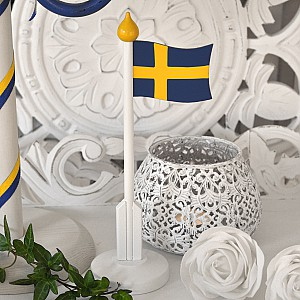 Wooden Table Flag Sweden