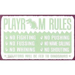 Plåtskylt Playroom Rules