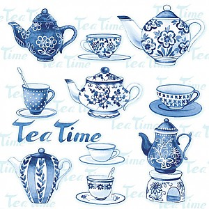 Napkins Tea Moments Blue