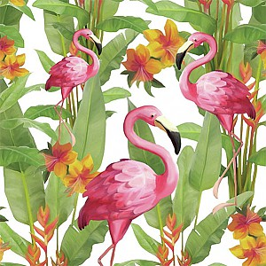 Napkins Flamingos White