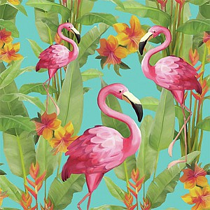 Napkins Flamingos Blue