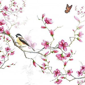 Napkins Bird & Blossom White