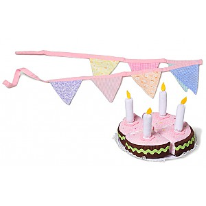 Birthday cake with pennants