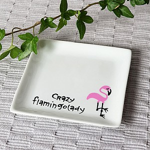 Plate Crazy flamingo lady