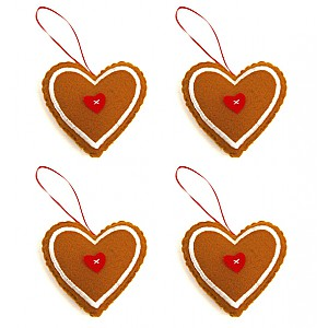 Gingerbread Hearts 4 pcs