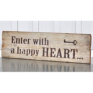 Wooden Sign Happy heart