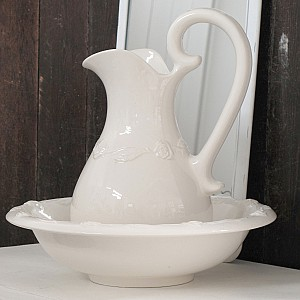 Wash Set / Wash Jug and Bowl - Roses - Large