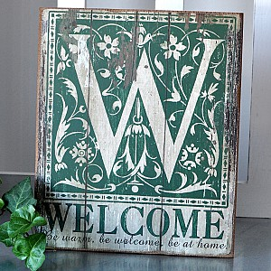 Wooden Sign Welcome