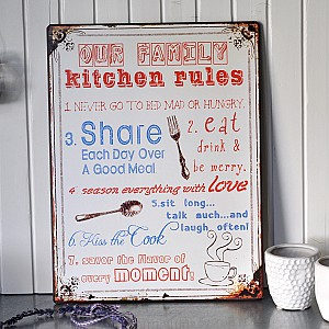 Tin Sign Kitchen Rules