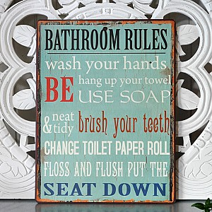Tin Sign Bathroom Rules
